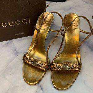 GUCCI guccissima leather strappy heels